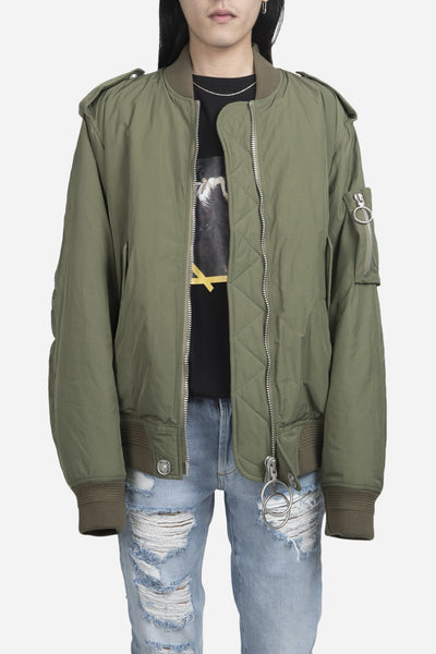 Off-White - Nylon Bomber Jacket Military Green
