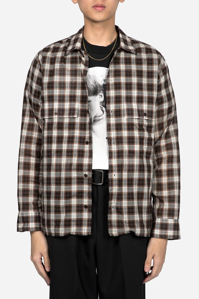 CMMN SWDN - Loose Fit Safari Shirt Brown Check