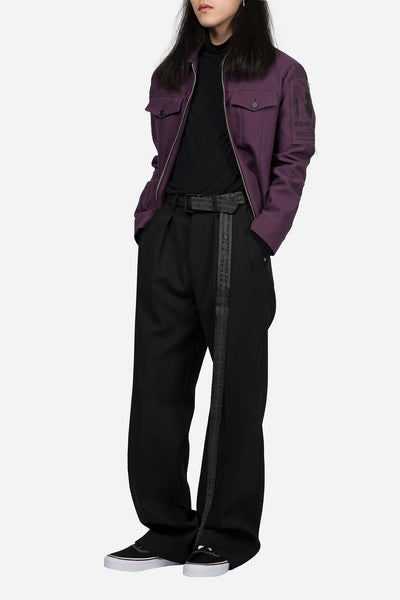 Blouson with Patches Dark Purple