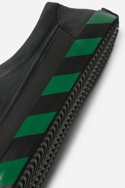 Oxford Sneaker with Green Print Black