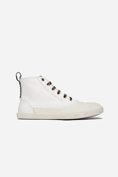 Lanvin - Mid Top Sneaker Washed Canvas White