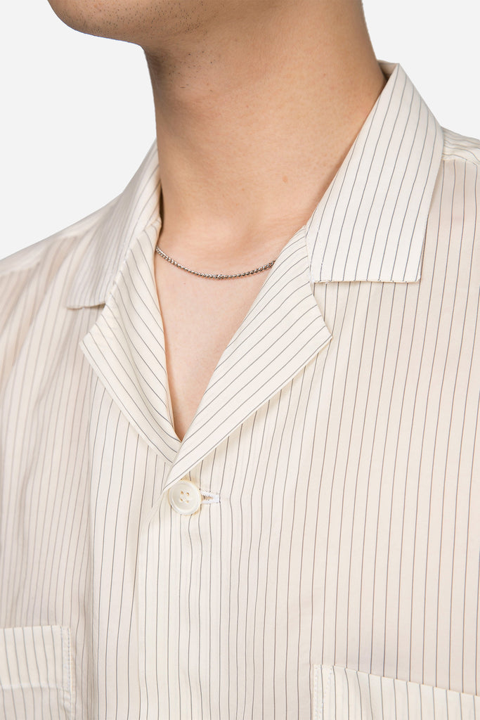 Camp Collar Shirt Jacket Pin Stripe
