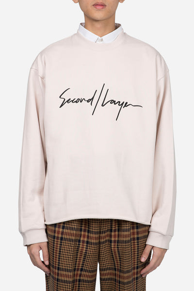 Second / Layer - Large Script Pullover Soft Blush