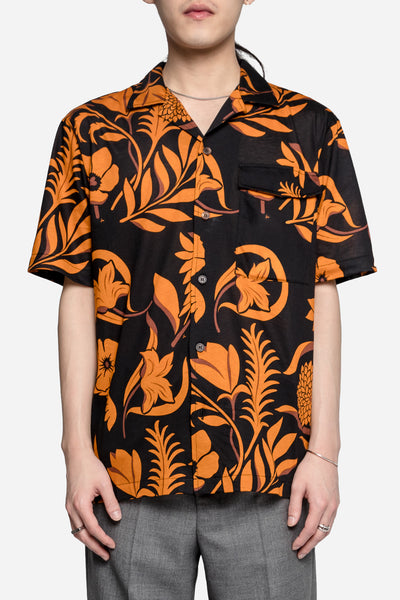 AMI - All Over Floral SS Shirt Navy/Orange