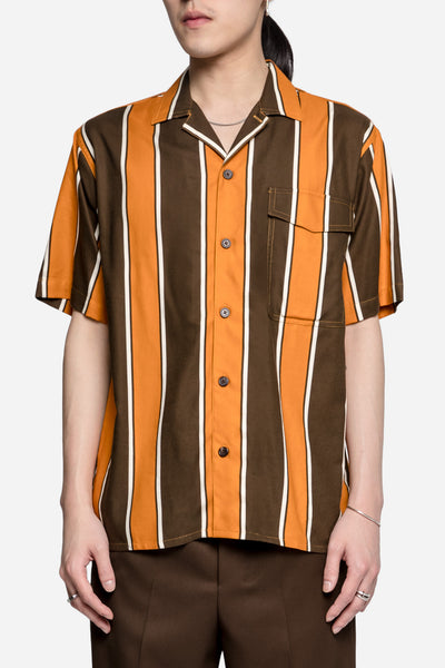 AMI - Stripes Printer SS Shirt Brown/Orange