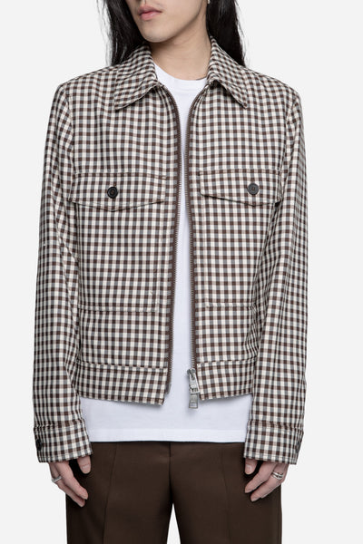 AMI - Checked Zipped Jacket Brown/Off-White