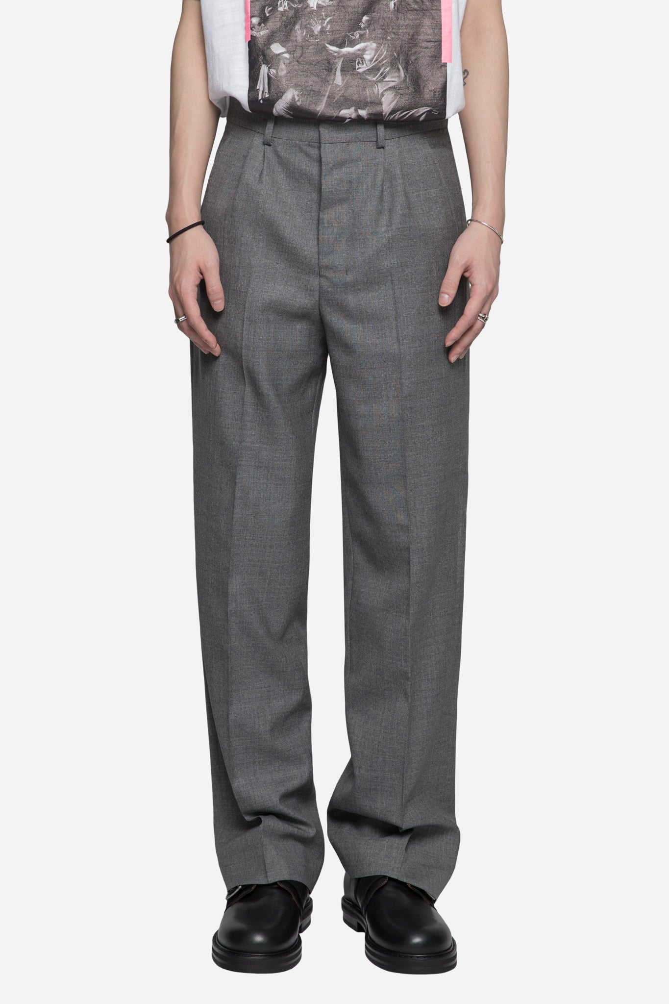 Tropical Wool Wide Trousers Grey