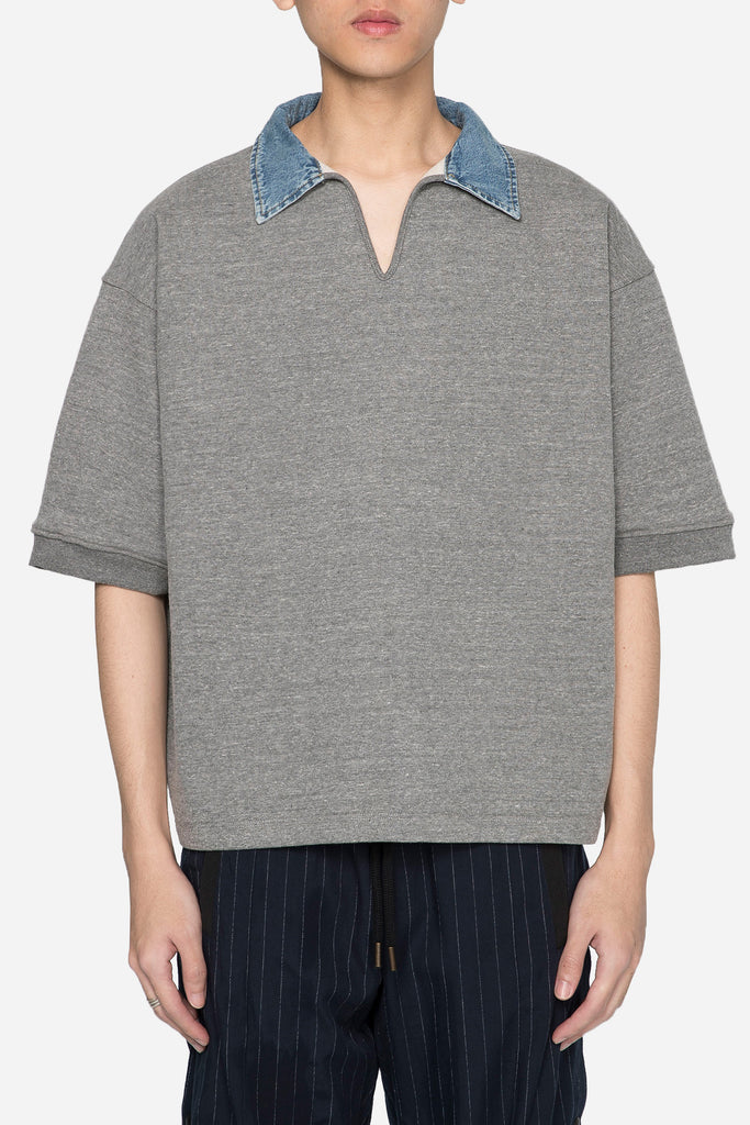 Grey Terry V-Neck Polo