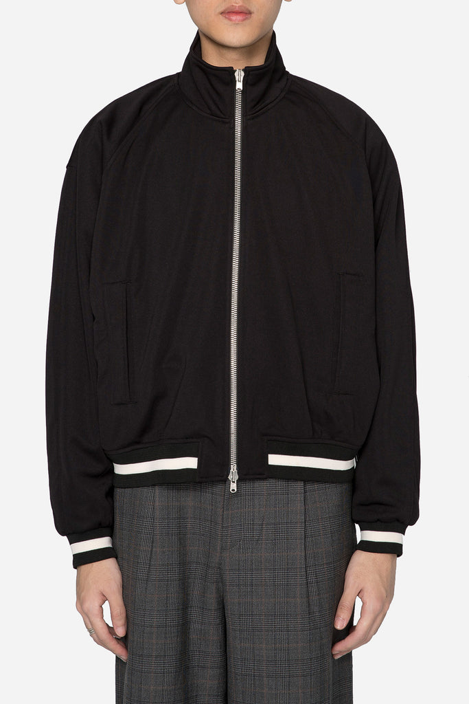 Black Double Knit Track Jacket