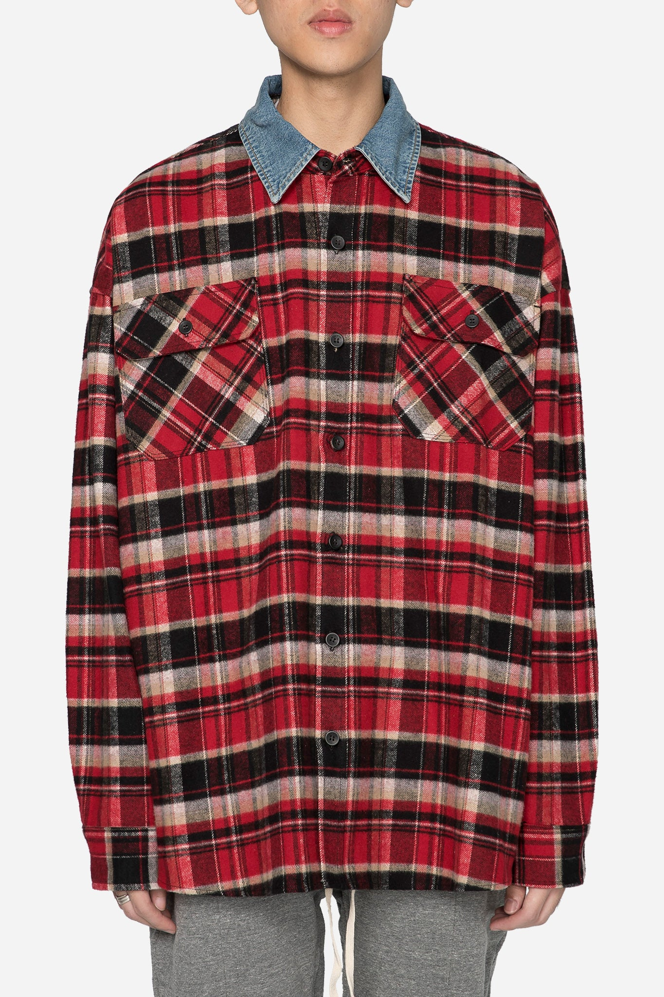 Red Check Denim Collar Shirt