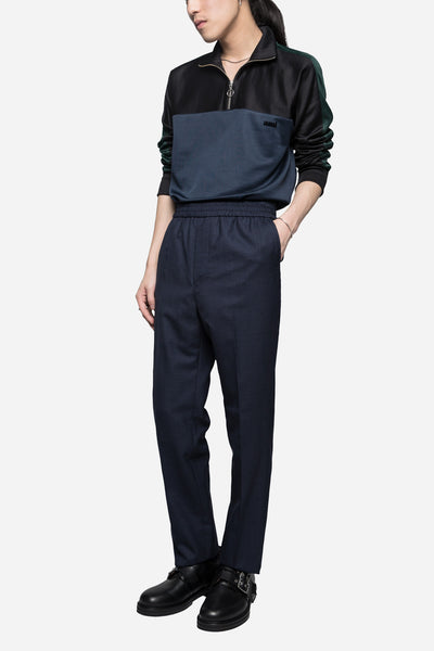 Elastic Tropical Wool Trousers Navy