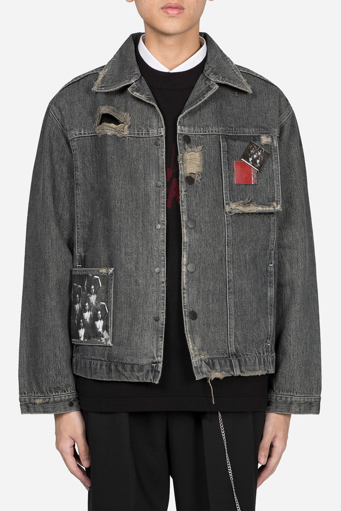 Lou Contrast Cropped Jacket Faded Greystone Drain Wash