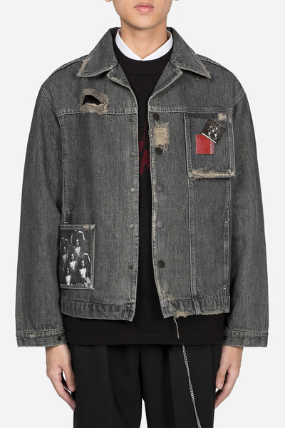 Banks Drain Us - Lou Contrast Cropped Jacket Faded Greystone Drain Wash