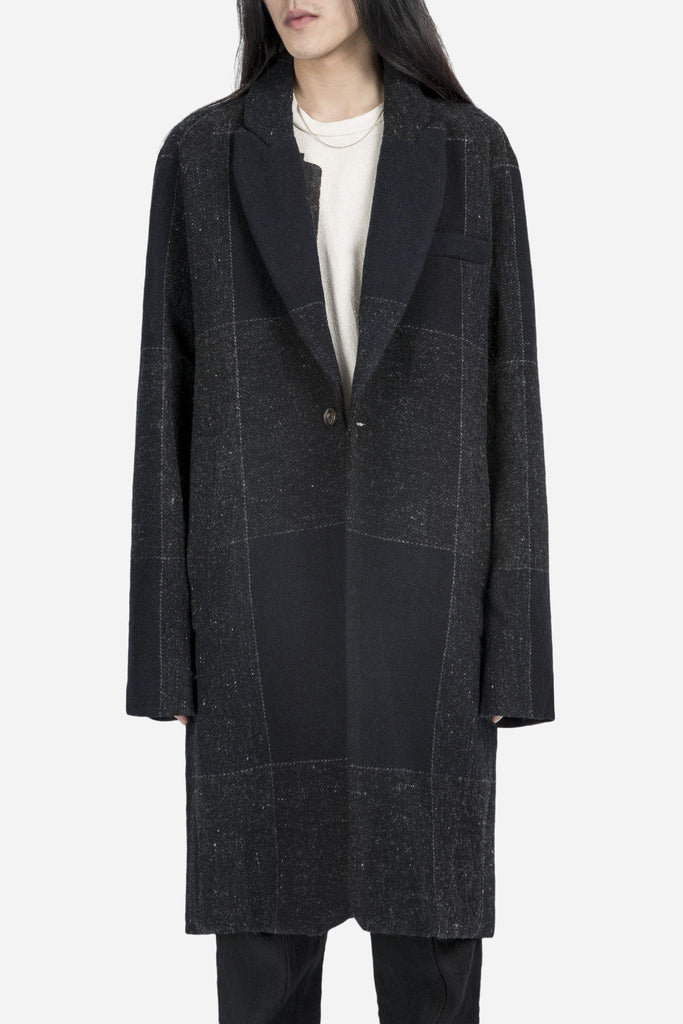 Oversized Raglan Coat Navy Check