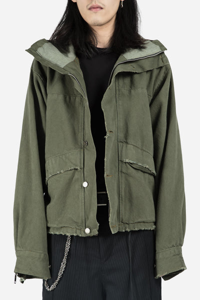 424 - Collab Denim Cropped Parka Olive