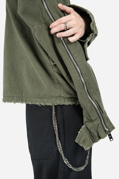 Collab Denim Cropped Parka Olive