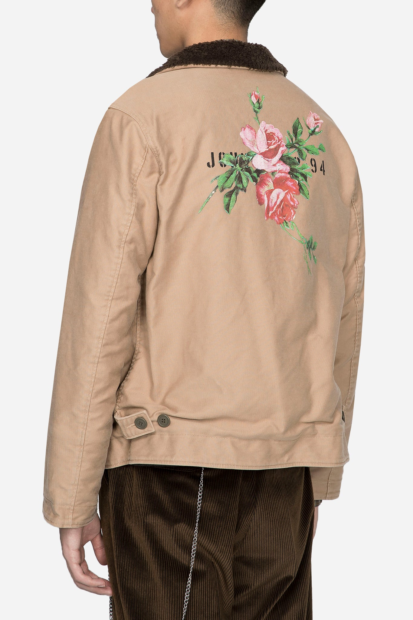 Worker Jacket with Rose Graphic Beige