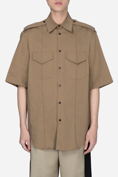 Yang Li - Oversized Short Sleeve Shirt Beige