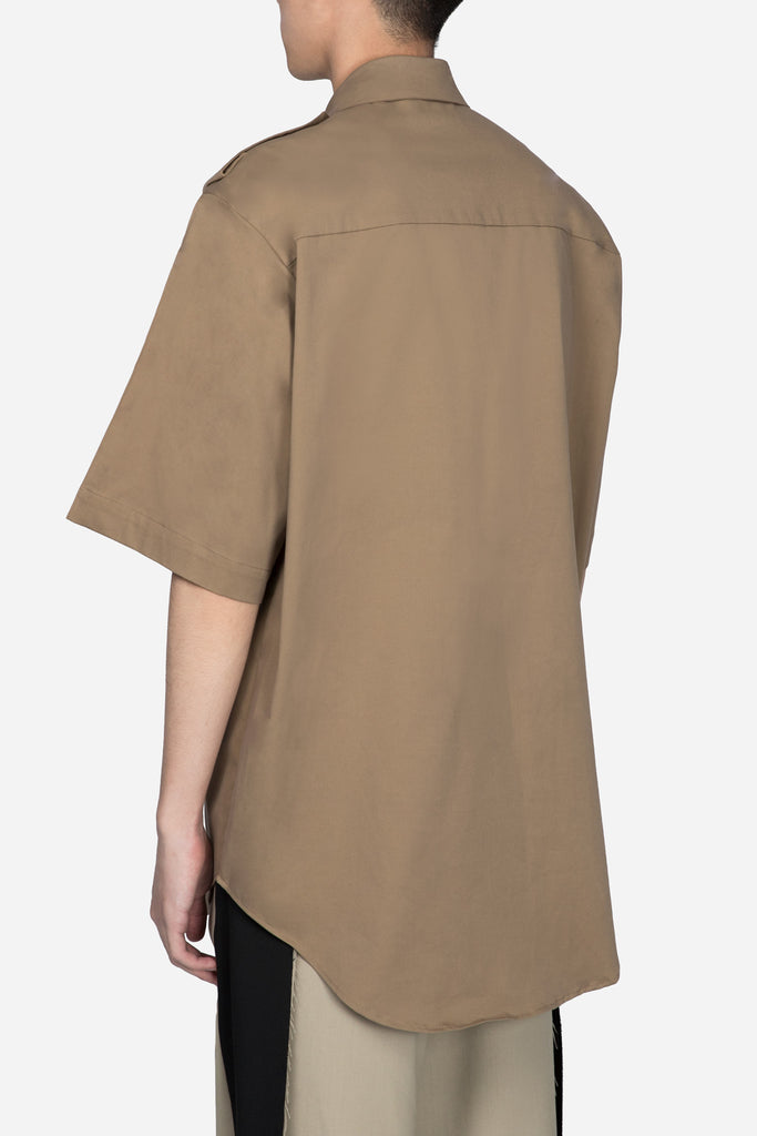 Oversized Short Sleeve Shirt Beige