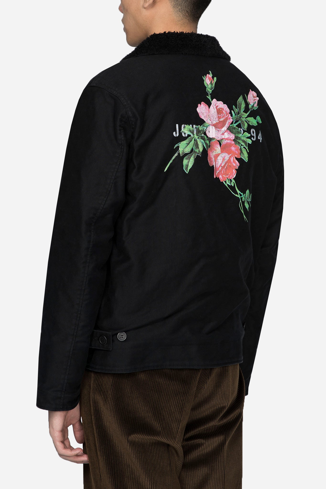 Worker Jacket with Rose Graphic Black