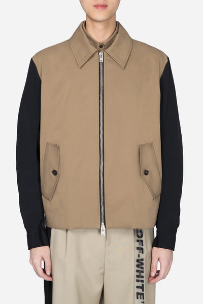 Yang Li - Blouson With Contrast Sleeves Beige