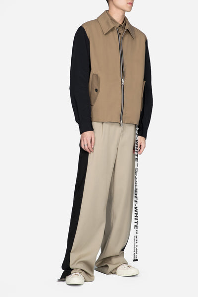 Blouson With Contrast Sleeves Beige
