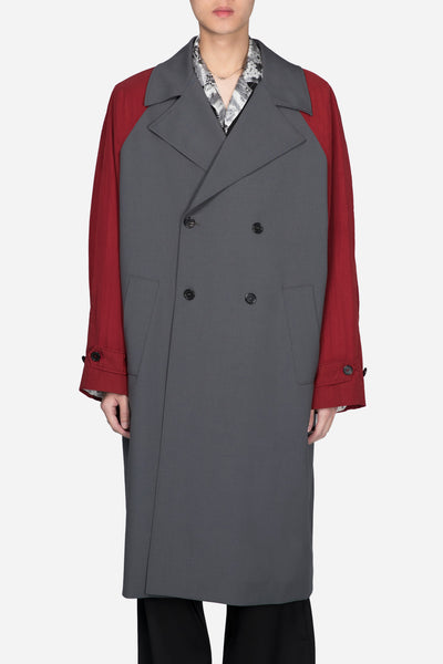 Yang Li - Trench Coat With Contrast Sleeves Grey