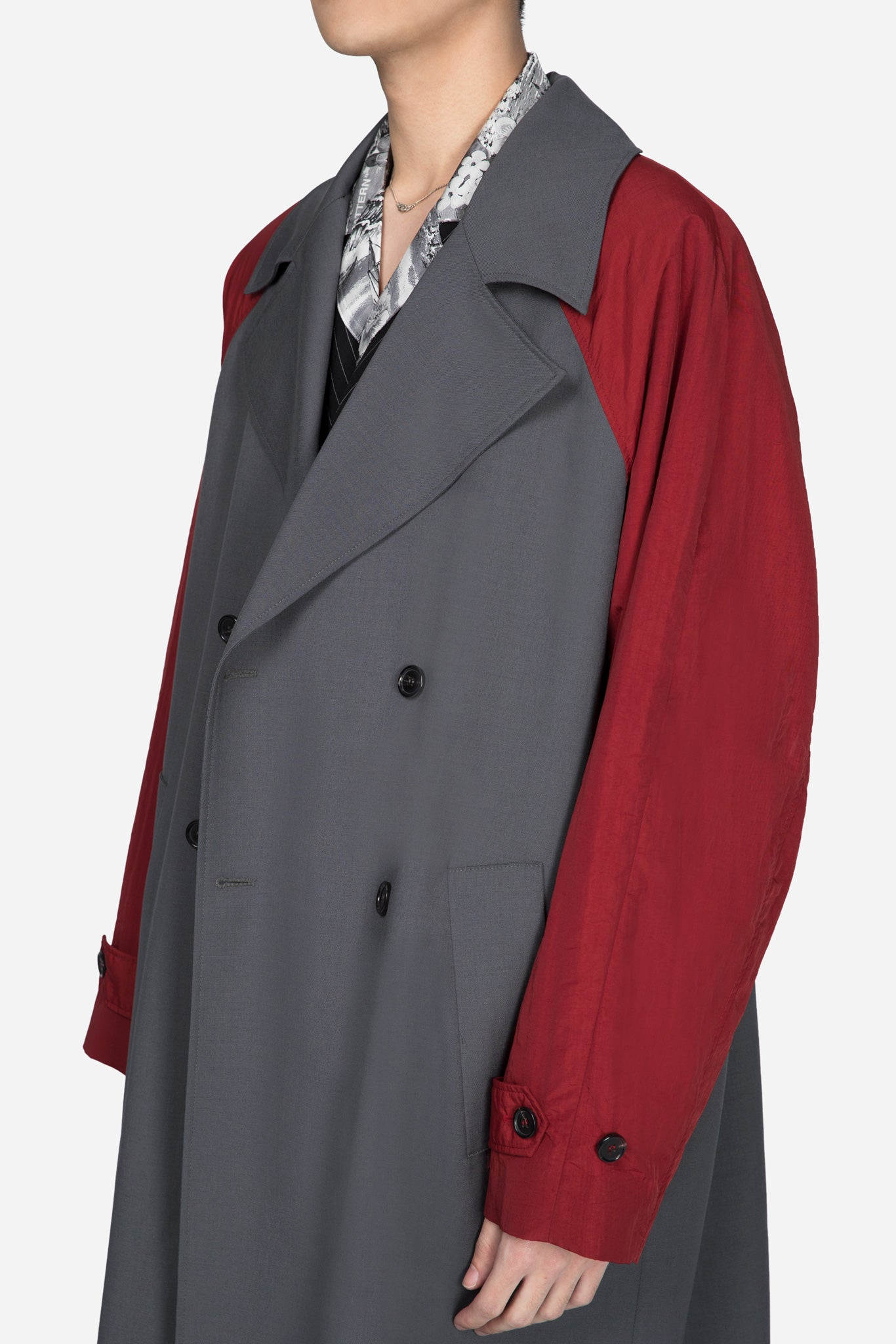 Trench Coat With Contrast Sleeves Grey