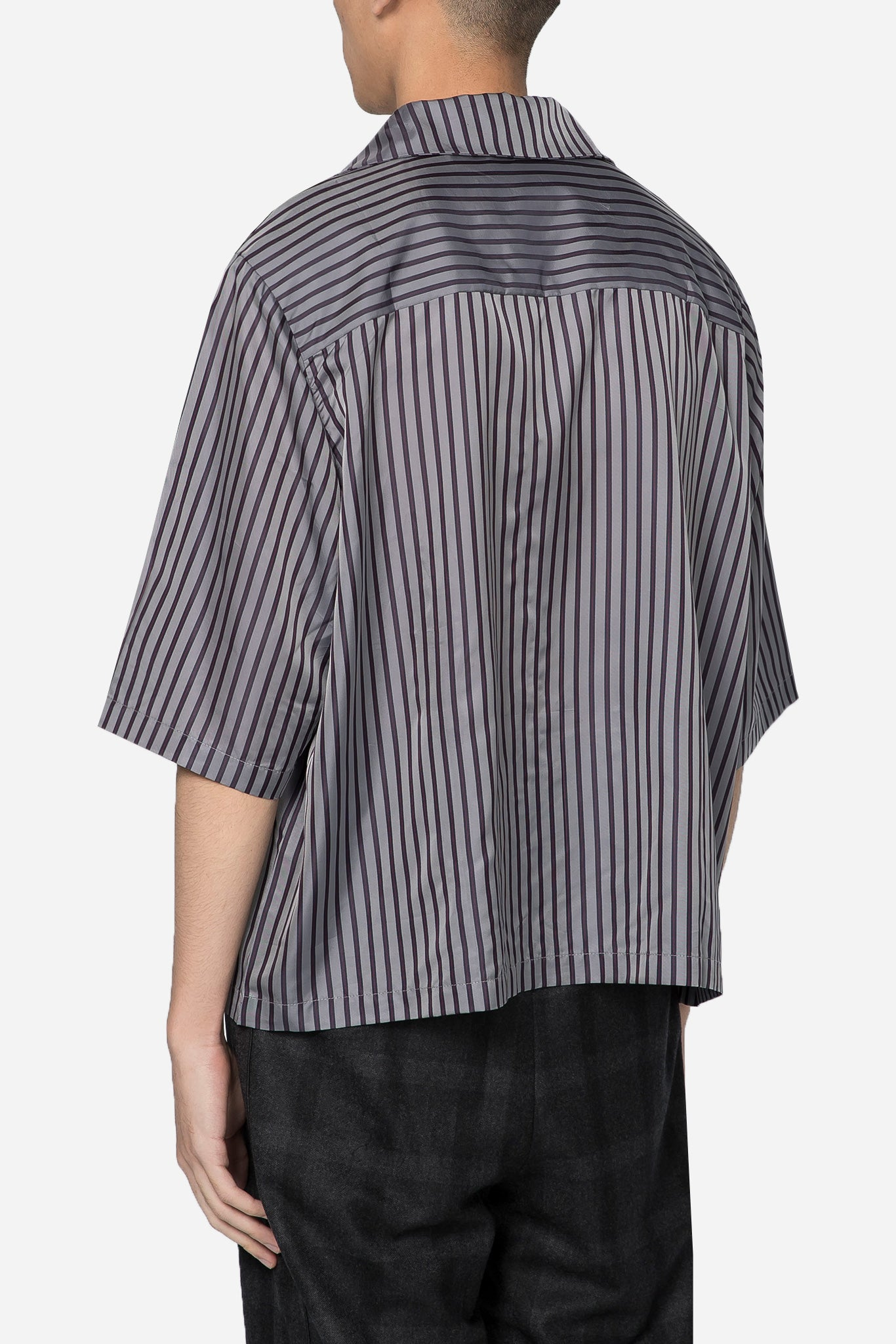 Vacay Cropped Silk Shirt Phila Navy Gold Stripes