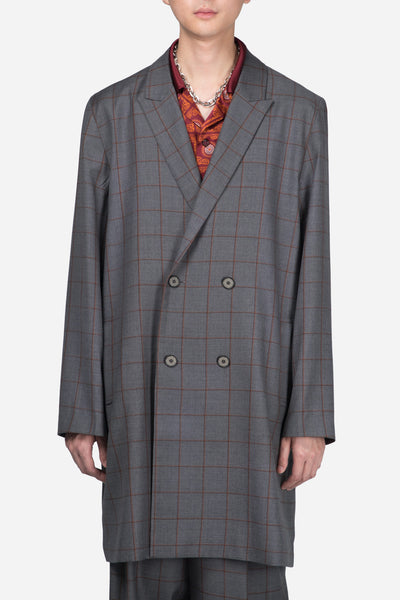 Pressured Paradise - Polar Peak Lapel Double Breast Coat Silver Rust Shadow Grid