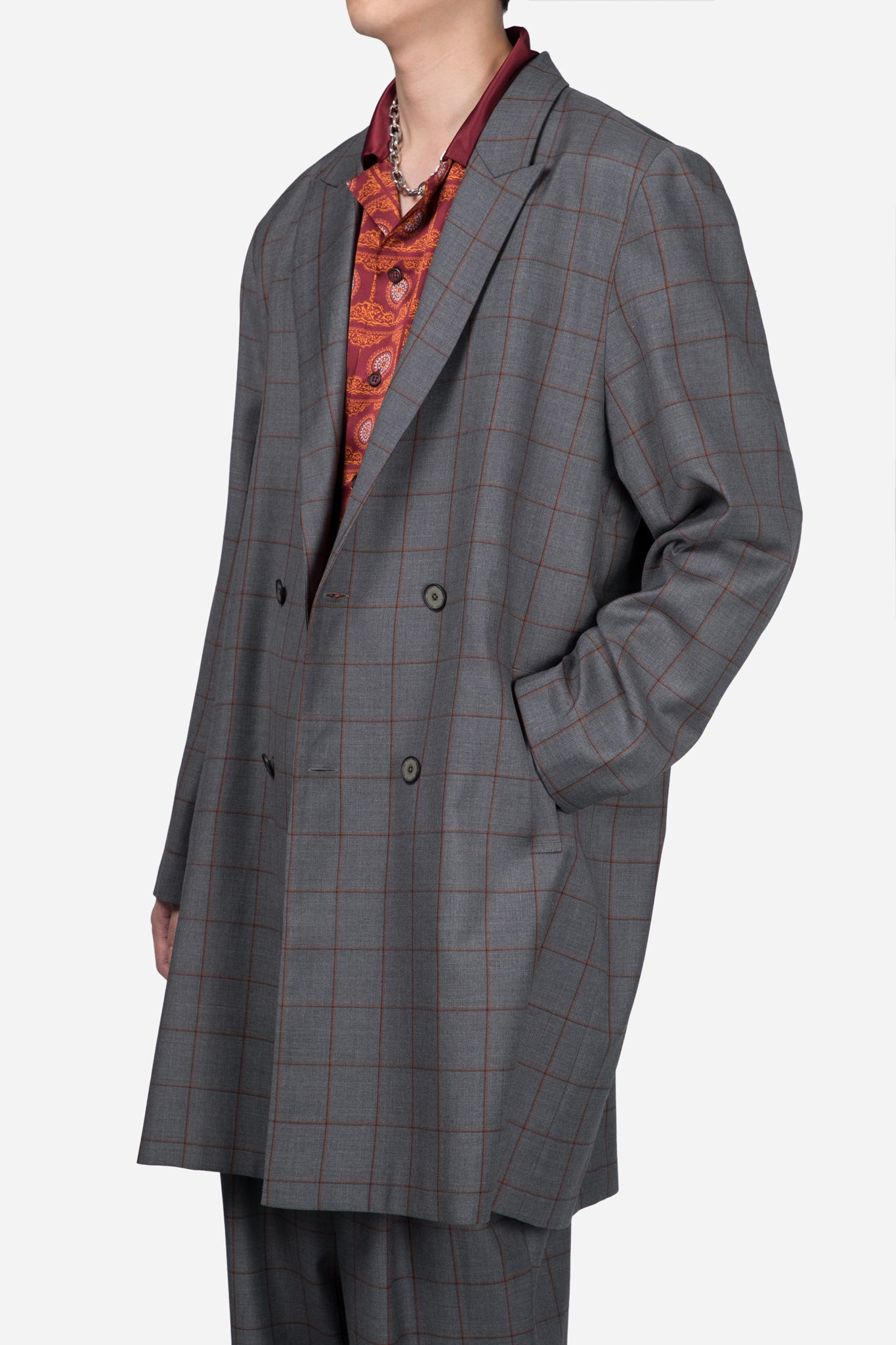 Polar Peak Lapel Double Breast Coat Silver Rust Shadow Grid