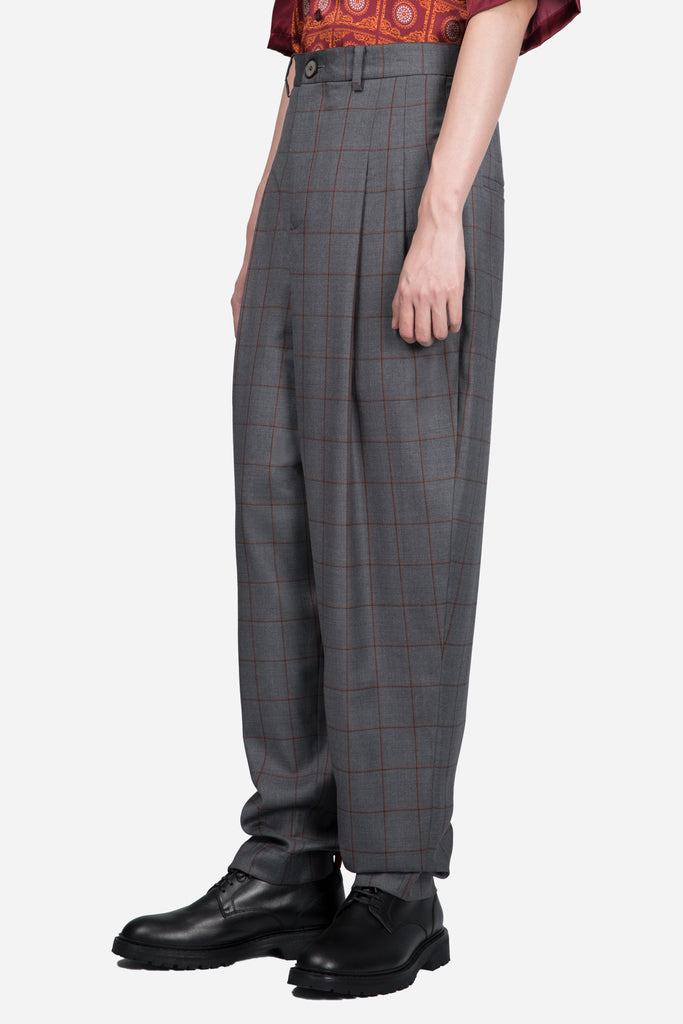 Dan Wide Leg Carrot Trouser Silver Rust Shadow