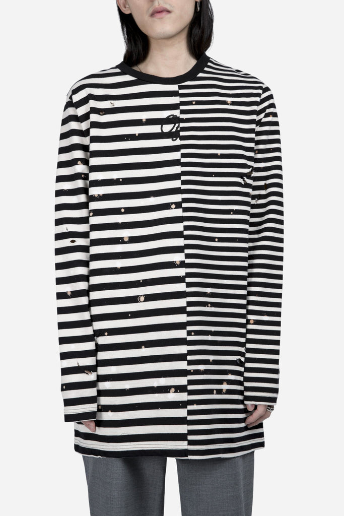 Restructured Stripe Long SL Tee Black/White