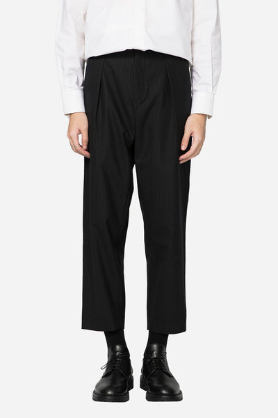 Second / Layer - Pin Stripe Pleated Billowed Trouser Black