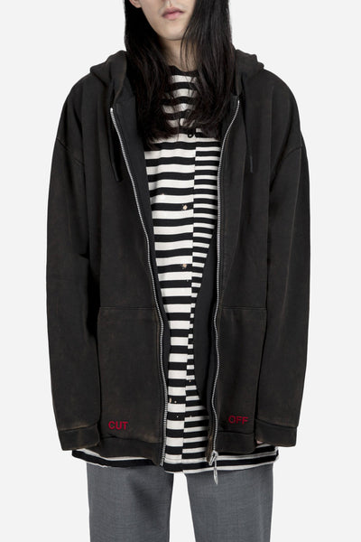Off-White - You Cut Me Off Zip Hoodie Bleached Black