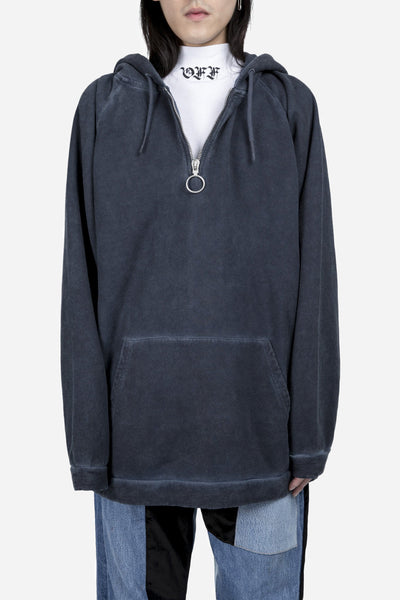 Off-White - Washed Half Zip Hoodie Navy