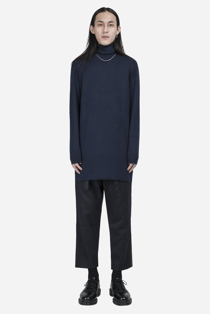 Parker Extended Knit Roll Neck Wool Navy