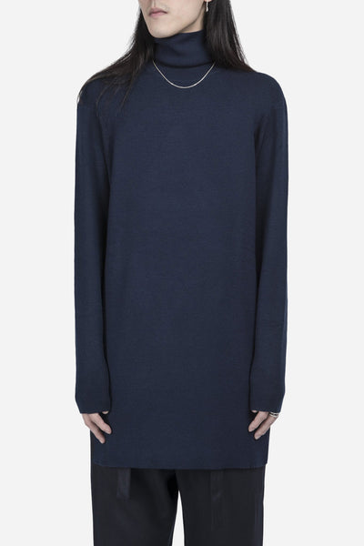 Matthew Miller - Parker Extended Knit Roll Neck Wool Navy
