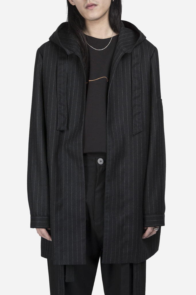 Norman Hooded Coat Dry Onyx Muted Stripes