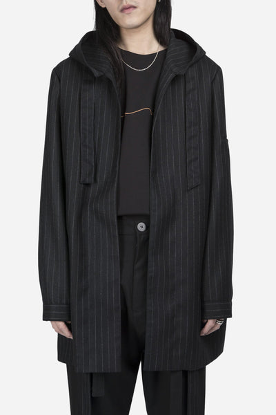 Necessity Sense - Norman Hooded Coat Dry Onyx Muted Stripes