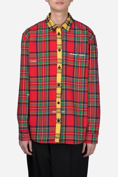 Off-White - Deconstructed Check Shirt Red