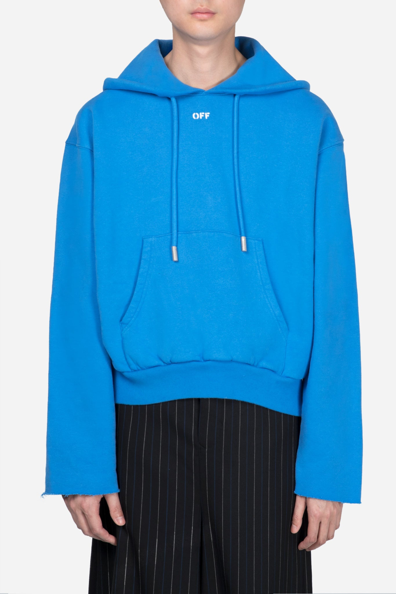 Safety Crop Hoodie Blue