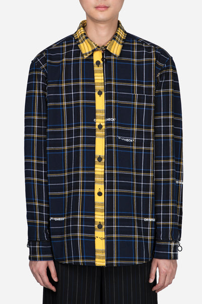 Off-White - Deconstructed Check Shirt Blue