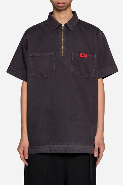 424 - Twill Half Zip Work Shirt Charcoal