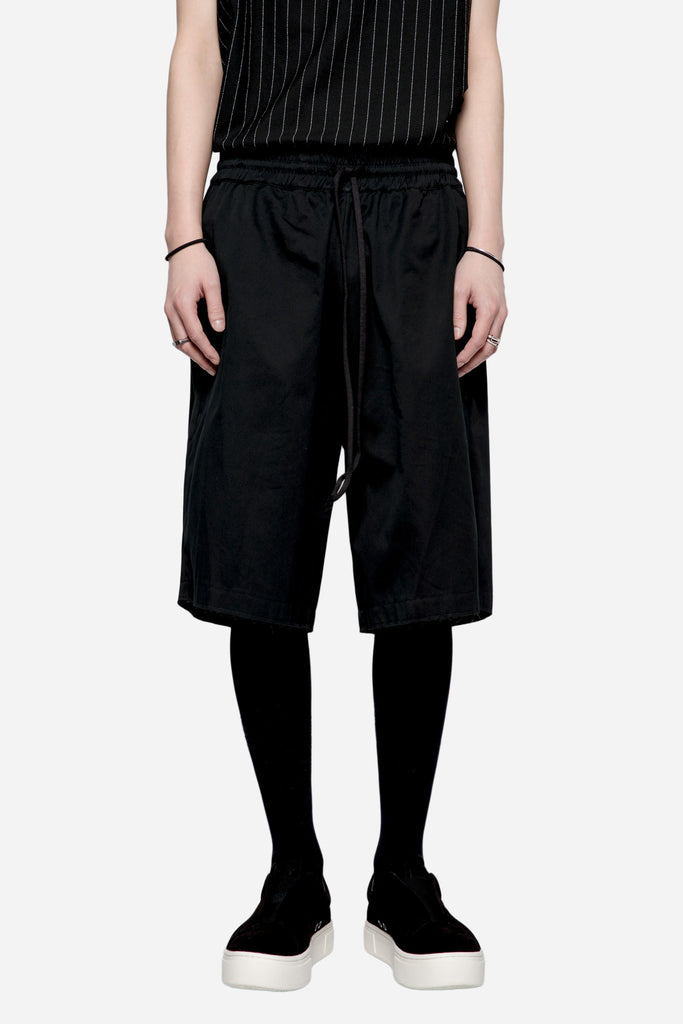 Cotton Gabardine Elasticated Shorts Black