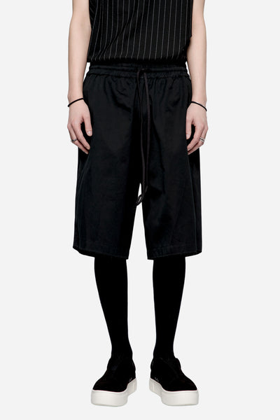 Komakino - Cotton Gabardine Elasticated Shorts Black