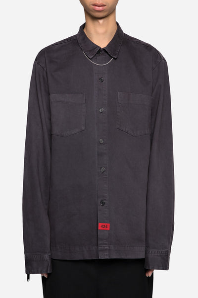 424 - Twill Button Up Work Shirt Charcoal
