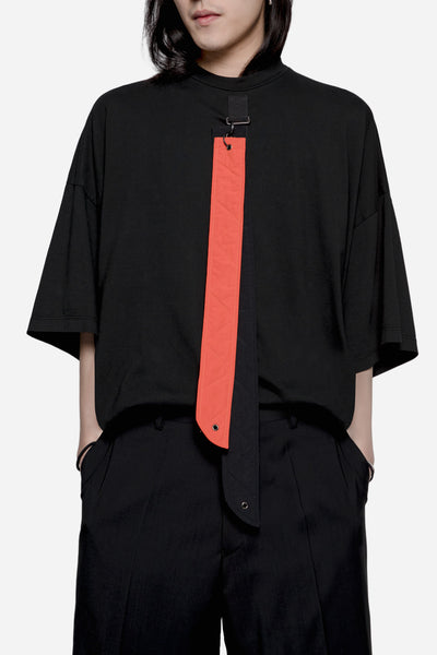 Komakino - Oversized Jersey Tee with Detachable Straps Black