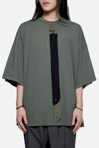 Komakino - Oversized Jersey Tee with Detachable Straps Green