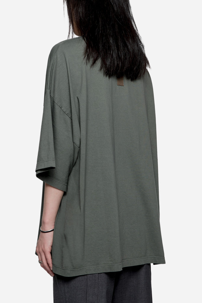 Oversized Jersey Tee with Detachable Straps Green